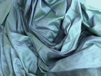 Iridescent Blue- Green Dupioni Silk Fabric