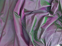 Iridescent Pink and Green China Silk Fabric