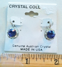 #08 Round Blue and Clear Crystal